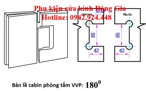 Các modulbản lề cabin phòngtắm kính VVP 4